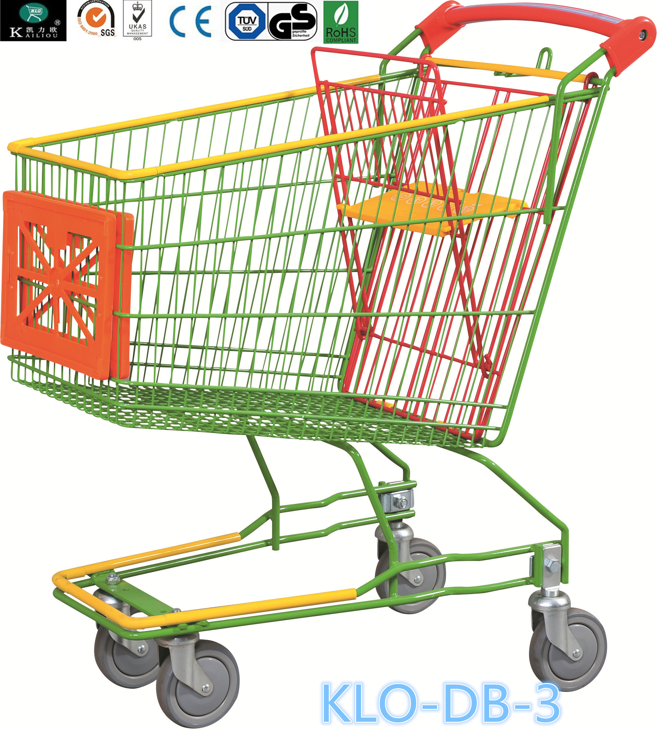 Caddie style Colorful Zinc Plated Supermarket Shopping Trolley With Advertisement Board 100L